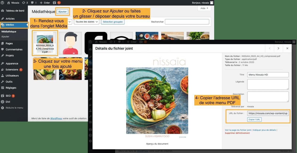 Ajouter Menu Restaurant PDF sur Site internet