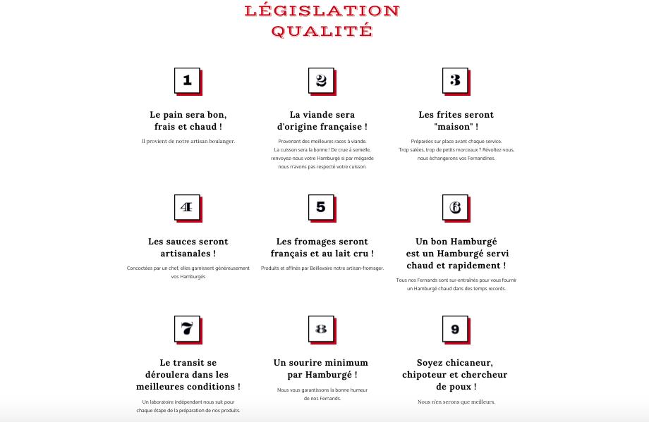 Legislation qualité Big Fernand Site internet