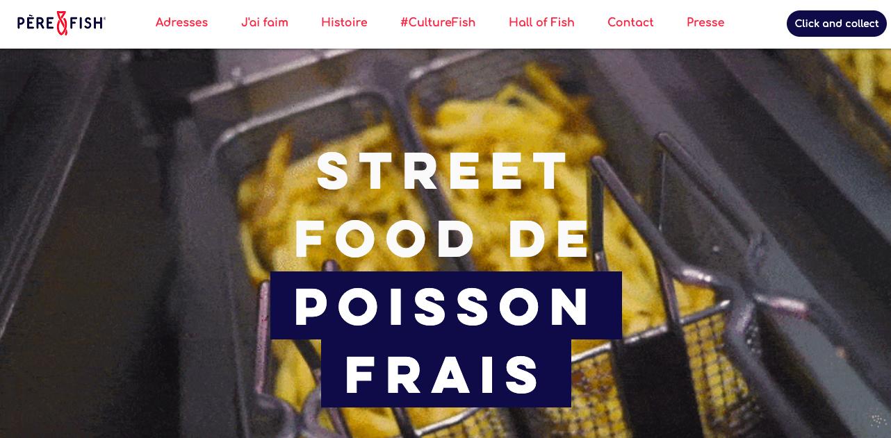 Hero Section Père et Fish Site Internet restaurant