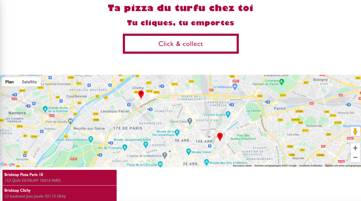 Brick Top Pizza Site Web Click and Collect