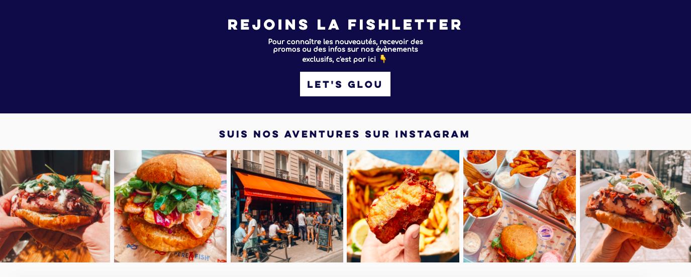 Père et Fish Restaurant Site Web Restaurant Page d'accueil